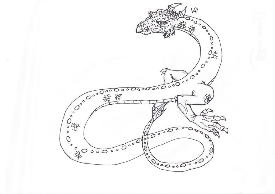 Line Art Snake : Asian snake dragon lineart by svalaw