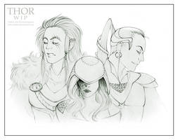 Fenrir, Hel and Jormungand WIP by Kota-Stoker