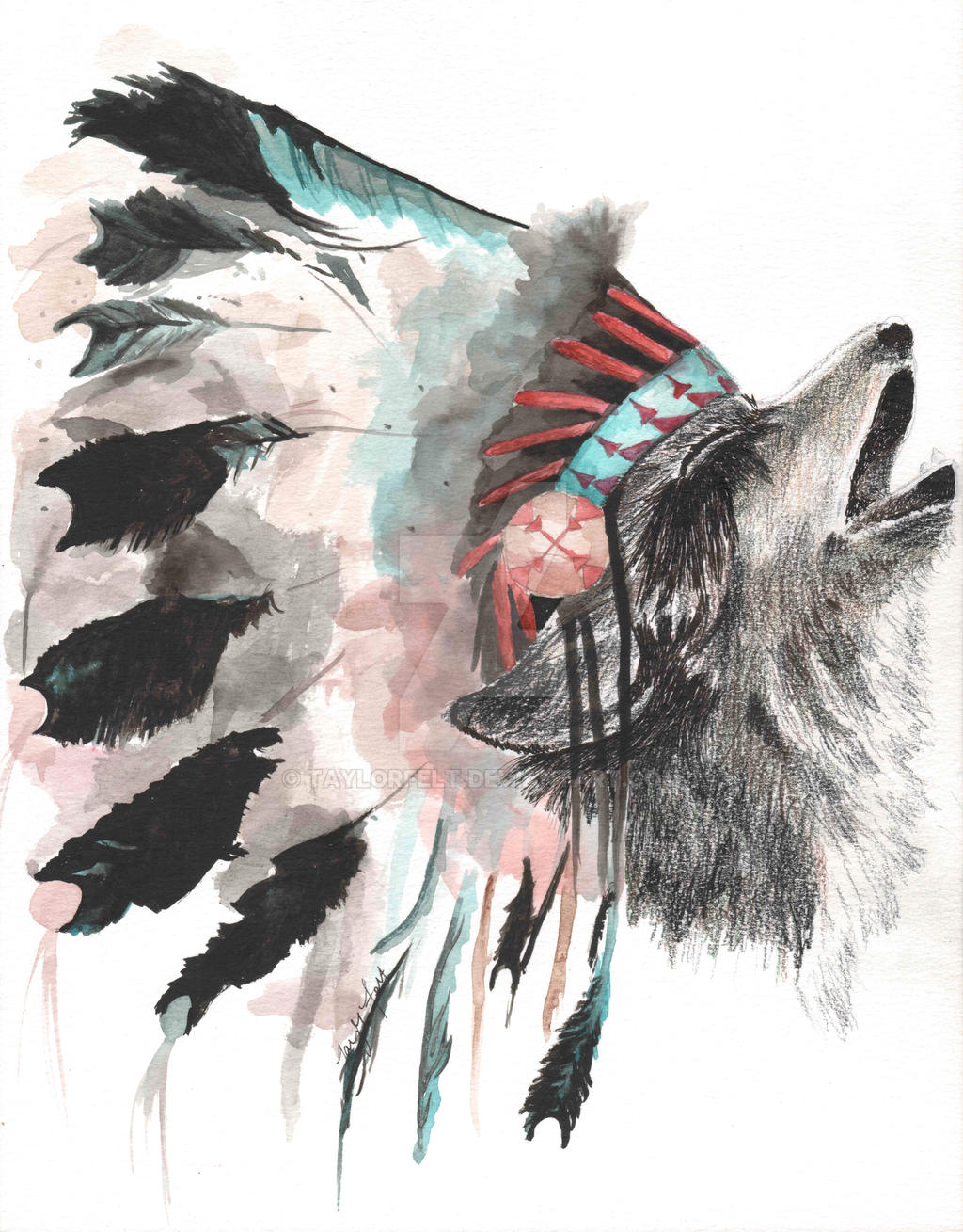 Wolf With Headdress By Taylorfelt On DeviantArt