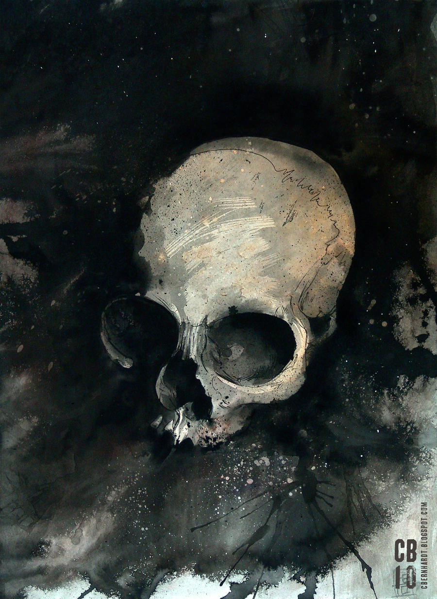 Watercolor Skull by cbernhardt