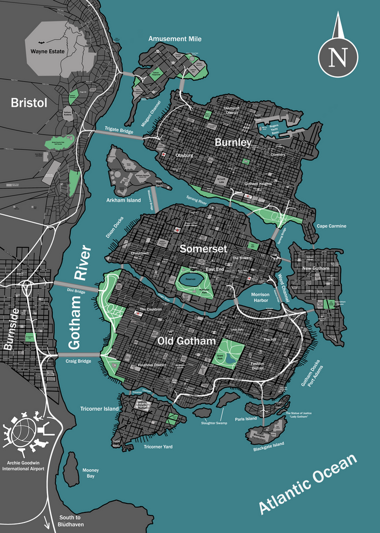 Map Of Gotham Gotham City Map by Crow 453 on DeviantArt
