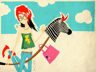 the little drunk zebra girl by Chebi