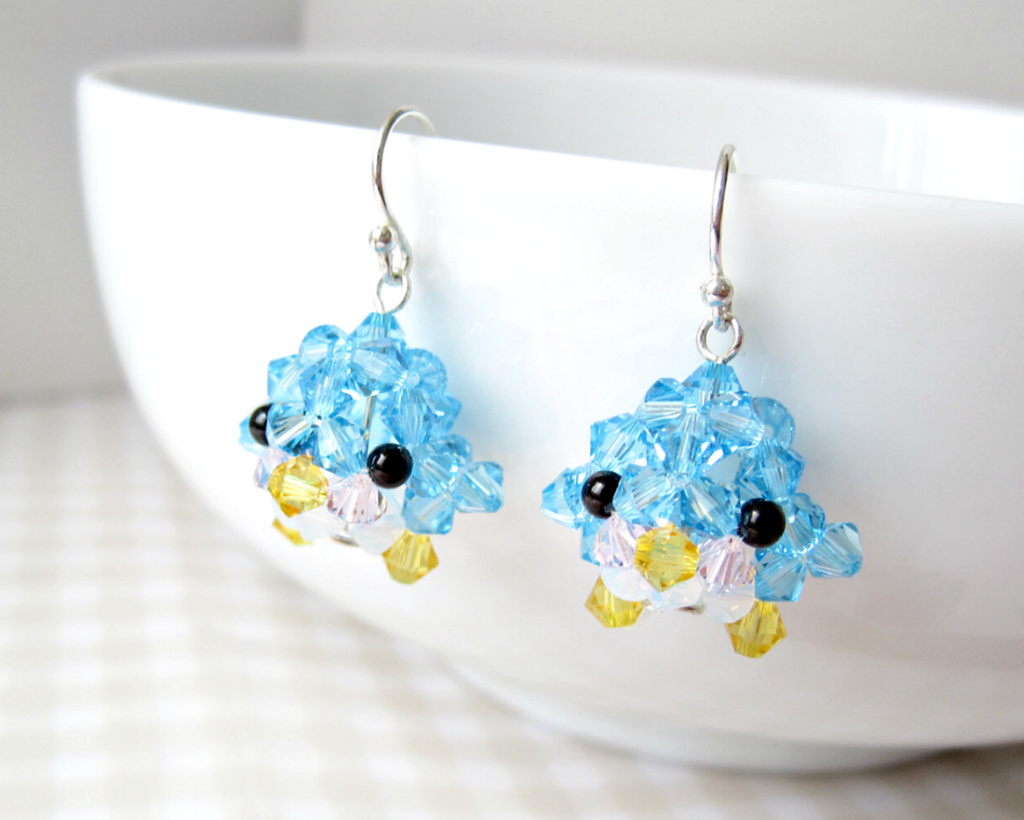 Blushing Blue Penguin Earrings by SparkleMeHappy