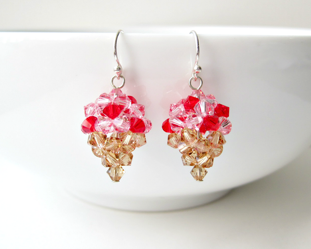 Strawberry Ice Cream Earrings by SparkleMeHappy