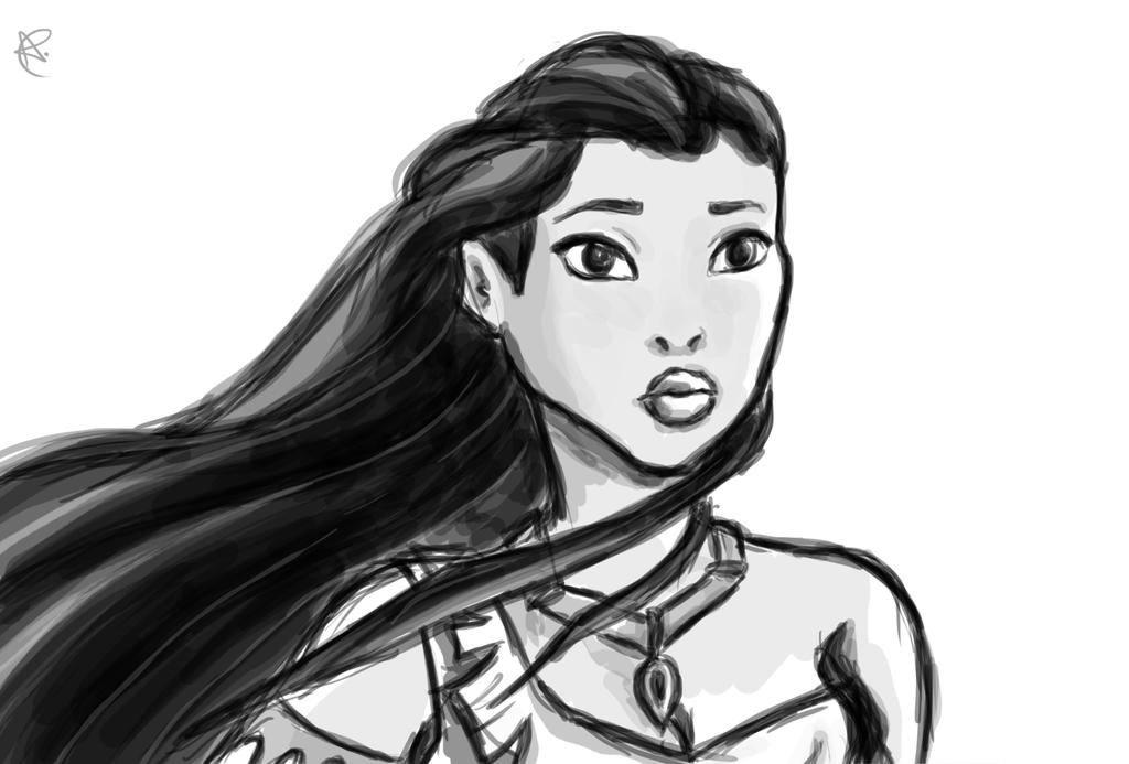 Pocahontas (Quick Sketch) by AliiStarr