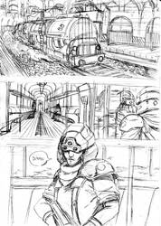 Final Fantasy VII comic page sketch