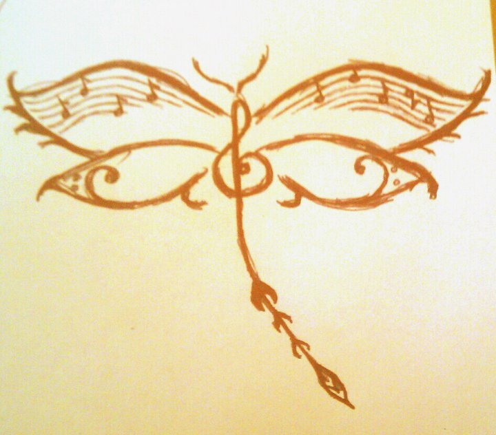 dragonfly music tattoo