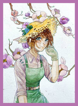 Emma Woods in cherry blossom season