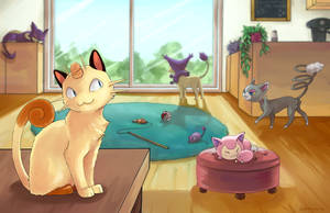 Welcome to the Pokemon Cat Cafe by jojostory
