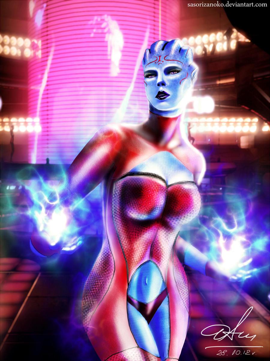Asari dancer working undercover - Mass Effect by sasorizanoko