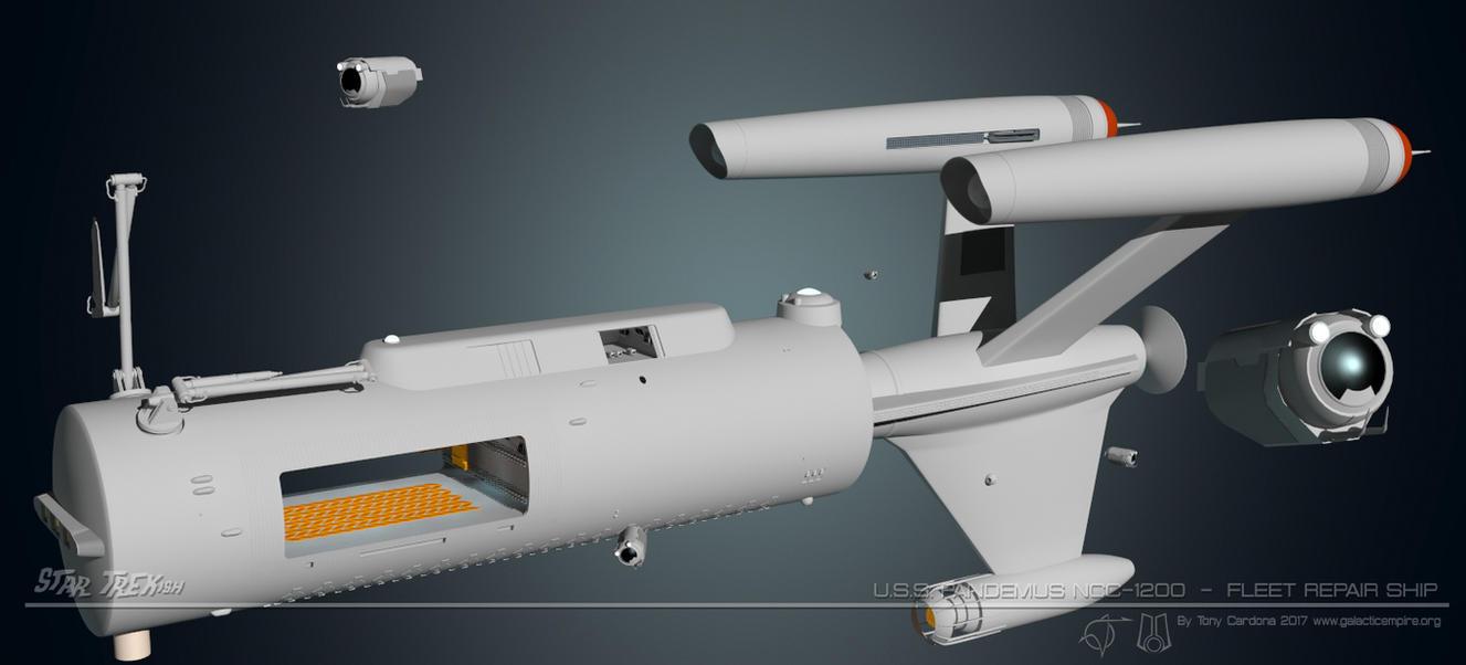 USS Pandemus NCC 1200 Repair Ship Update by LordSarvain