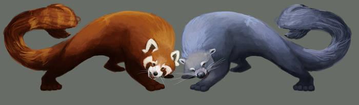 red panda and binturong by Meteor-Panda