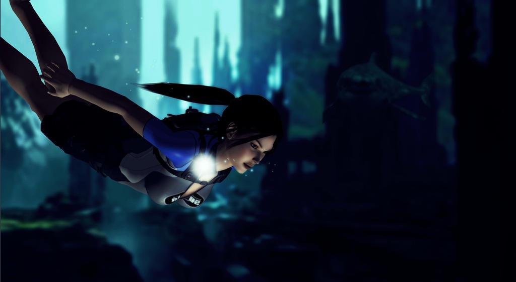 Lara_Croft_Deep_in_the_Mediterranean by ivedada