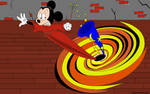 Sorcerer Mickey is sucked into a black hole by Joko-Zuno