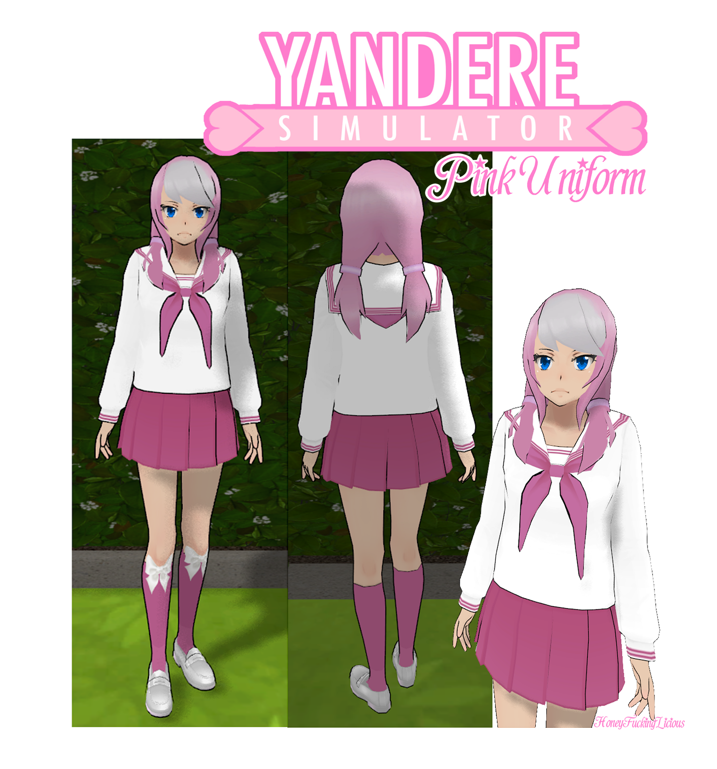 Yandere Simulator Skin Pink Uniform By HoneyFuckingLicious On - Skins para minecraft de yandere
