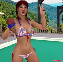 Gina Celebrating  Independence Day.