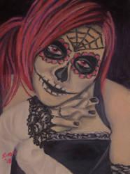 Sugar Skull in Oil Pastel