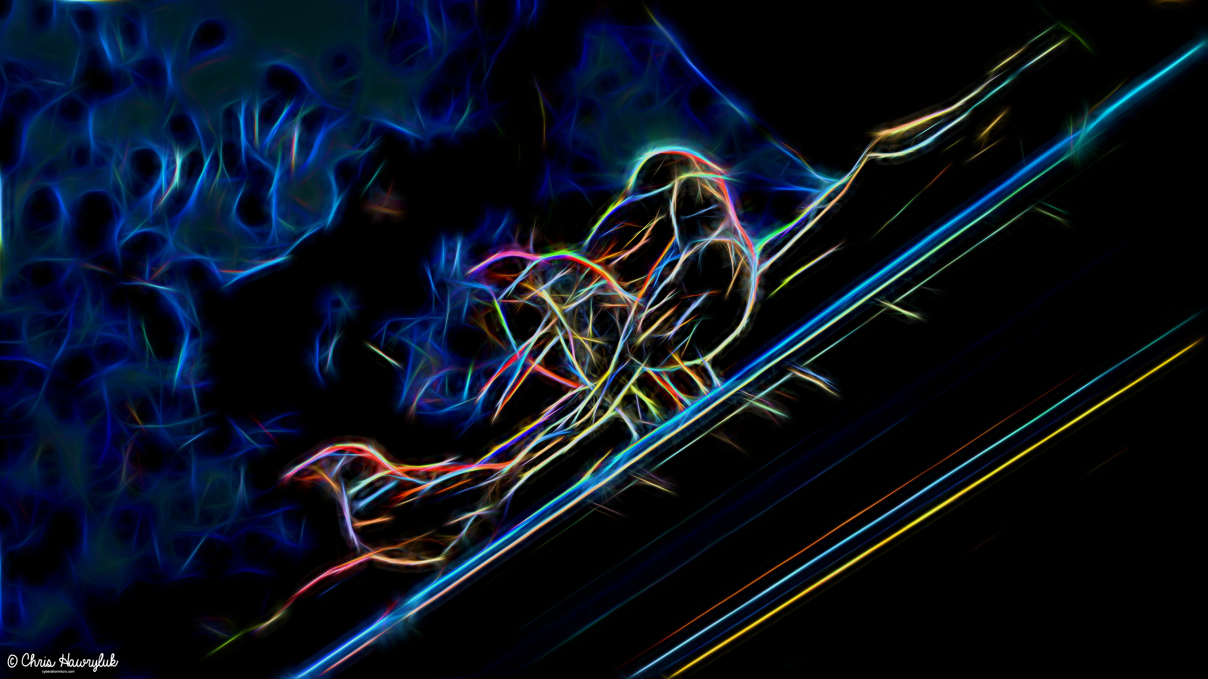 Neon Birds In Rain Gutter