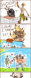 Junkrat/Roadhog comic by JawYaw