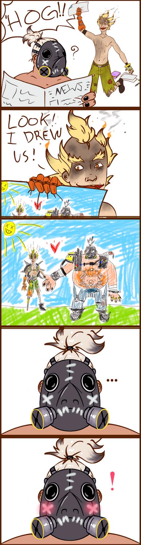 Junkrat/Roadhog comic by JawYaw