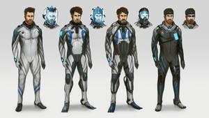 Poseidon crew diving suits.