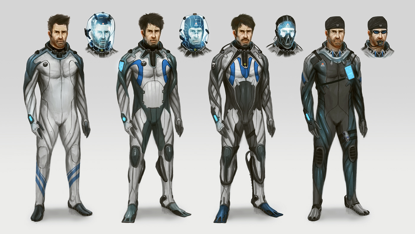 Poseidon crew diving suits. by TomEdwardsConcepts