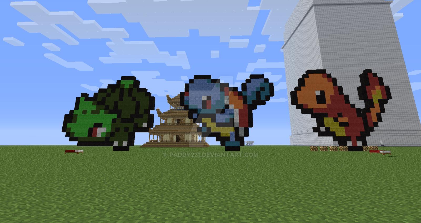Pokemon Original Starters In Minecraft Pixel Art By Paddy221 On