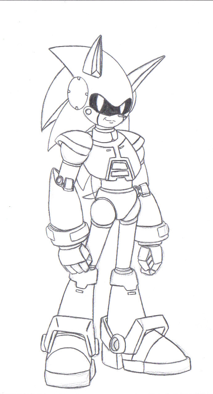Metal sonic satam lineart by zeiram0034 on deviantart for Metal sonic coloring pages