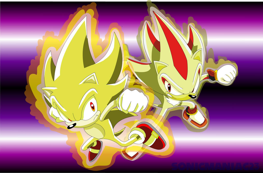Super Sonic And Shadow By SonicManiac23