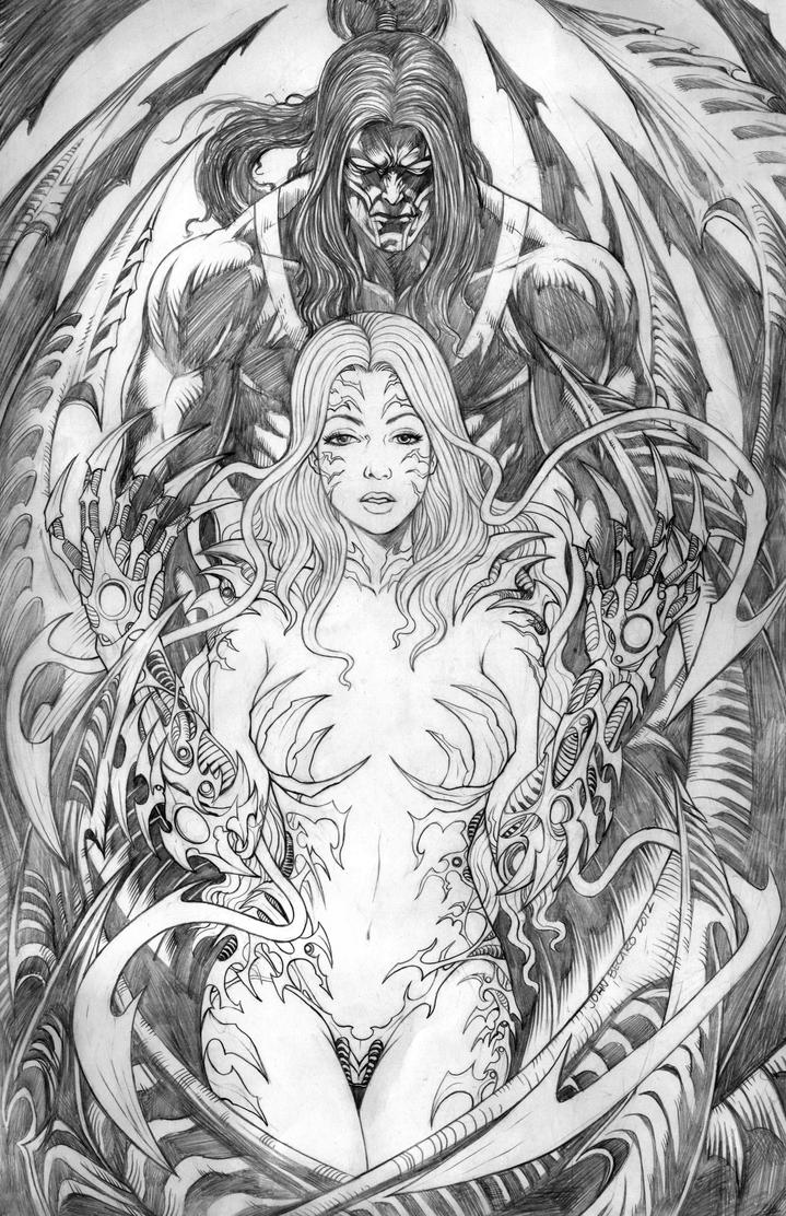 Pencils: WITCHBLADE and RIPCLAW: Deadly Attraction by johnbecaro