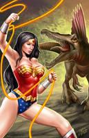 Wonder Woman versus Spinosaur by johnbecaro