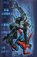 Venom versus Spider-Man by johnbecaro