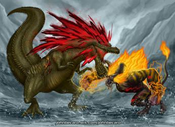 Deviljho vs Rajang by johnbecaro