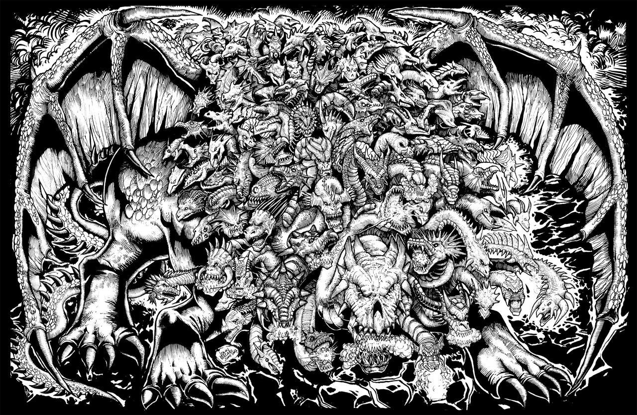 Line Art Dragon : Commission epic dragon by johnbecaro on deviantart
