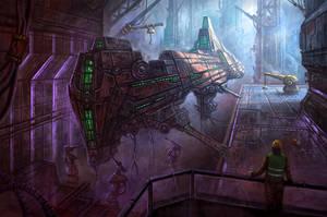 Docked Spaceship by yonaz
