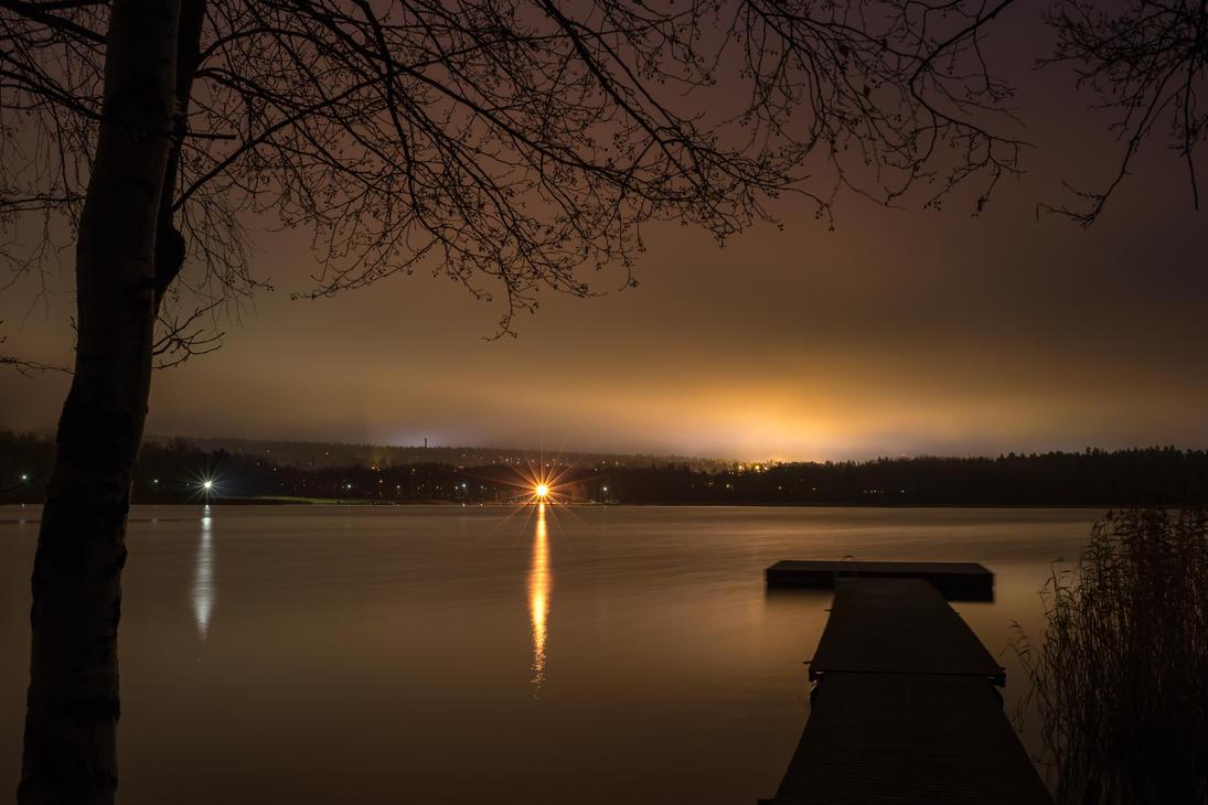Autumn night on the lake by BIREL