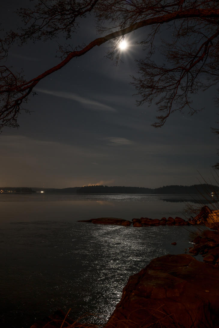 Moonlight on the lake by BIREL