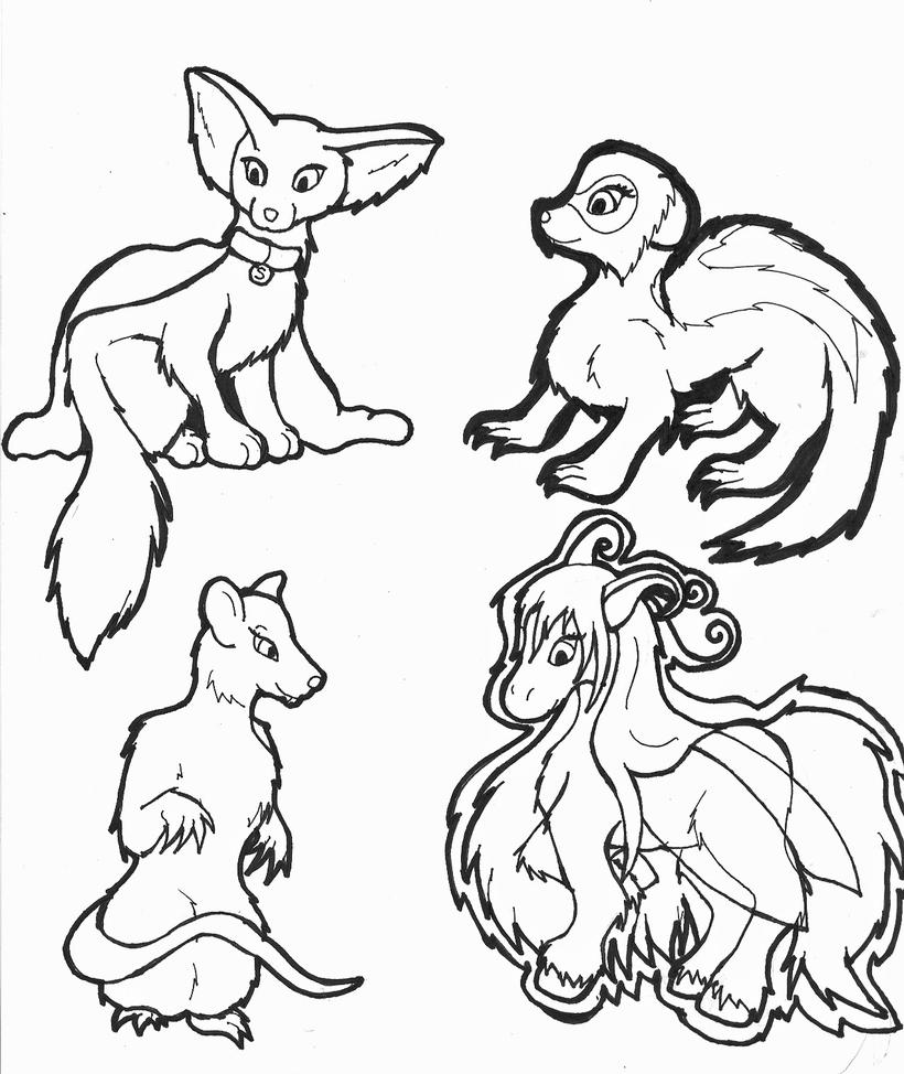 Line Art Drawings Of Animals : Cute animal lines by ferret on deviantart