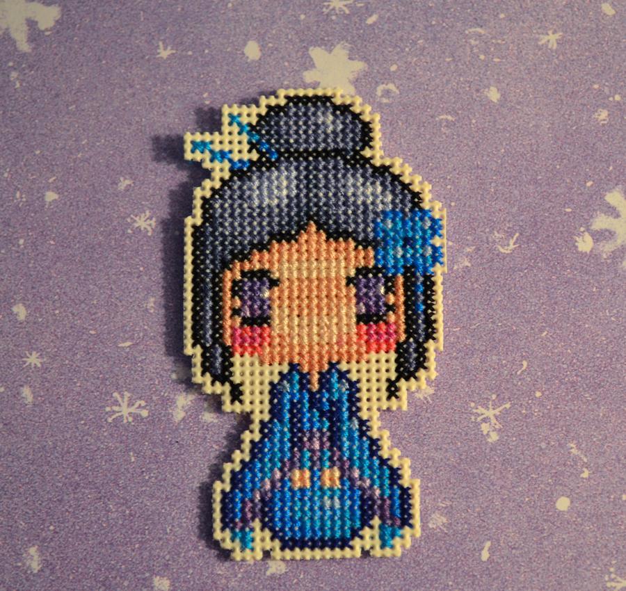 Cross Stitch Magnet - Kimono Girl Blue - by HopperARTZ