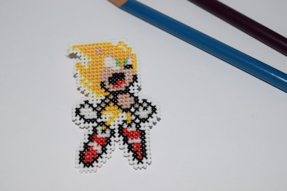 Super Sonic Cross Stitched Pin by HopperARTZ