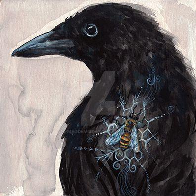 Raven + Honey Bee by meddevi