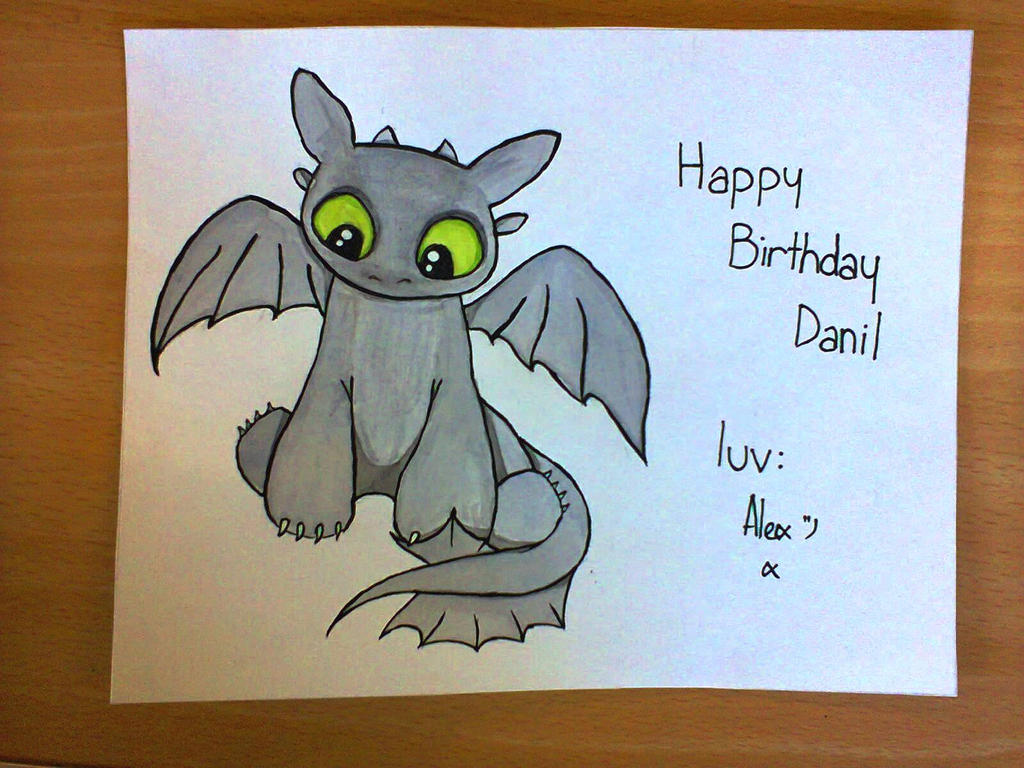 Birthday Cards Paintings ~ Quick toothless birthday card by alexandraprivet on deviantart