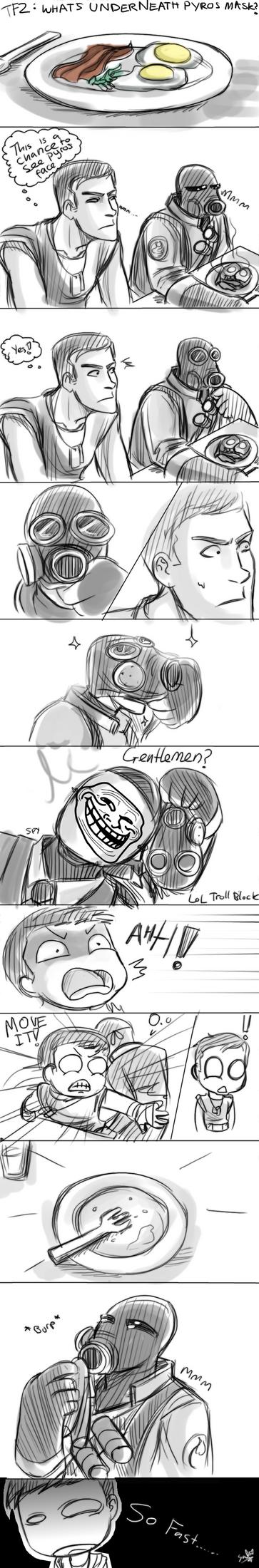TF2: whats underneath pyros mask? by DarkLitria