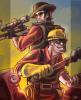 TF2: sniper and Engineer groupshot by DarkLitria