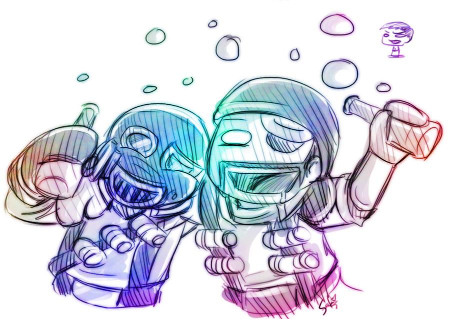 TF2: Pyro and Demo drunk by DarkLitria