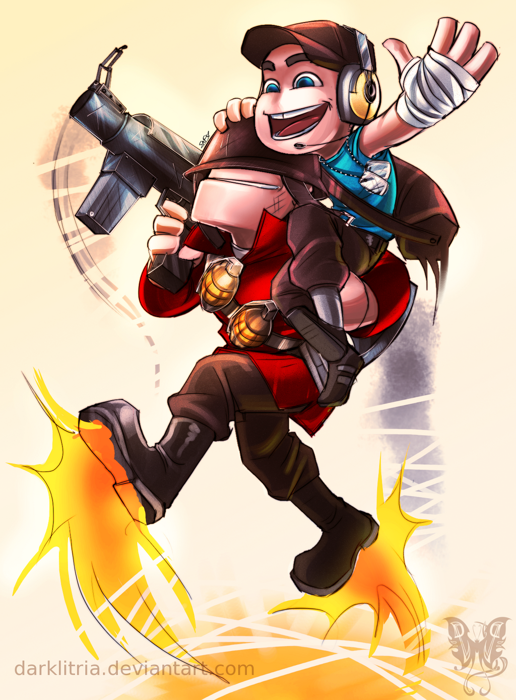 TF2: little Scout and Solly by DarkLitria