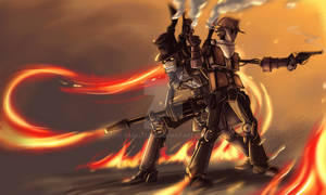 TF2: Steampunk robot Pyro and Scout