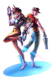 Scout and Tracer by DarkLitria