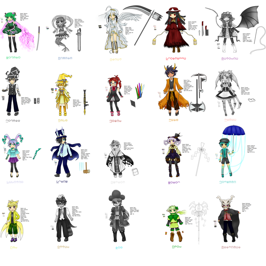 WIP All Battle Outfits by Eiburine on DeviantArt