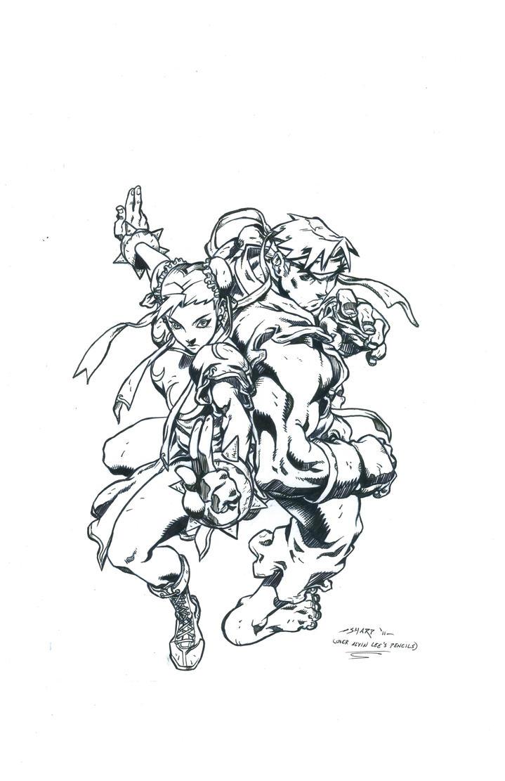 CHUN-LI AND RYU INKED by FanBoy67